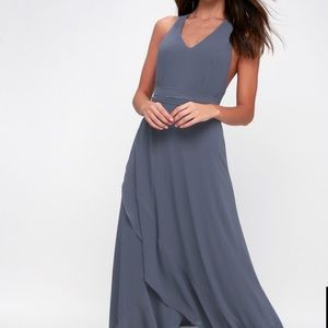 Lulu's denim blue high low maxi dress